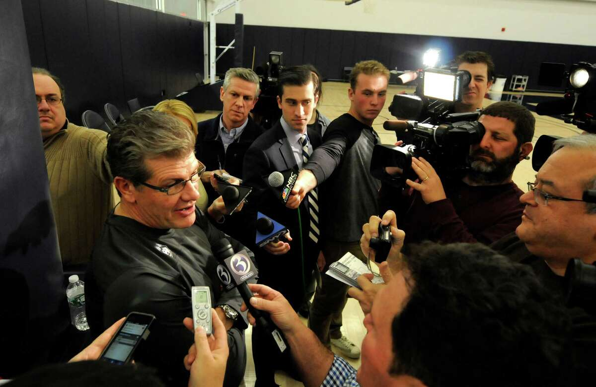 Connecticut head coach Geno Auriemma speaks to the media after the NCAA college basketball tournament selection show Monday, March 16, 2015, in Storrs, Conn. UConn is the overall No. 1 seed in the tournament. (AP Photo/The Hartford Courant, Michael McAndrews) ORG XMIT: CTHAR203