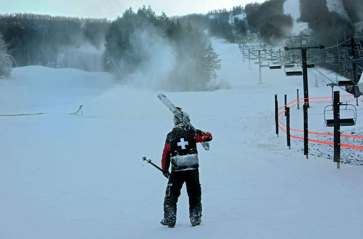 Tom Borman, ski patrol for Windham Mt., looks back at the mountain after making a run down as staff get ready for the ski season at Windham Mountain on Wednesday, Nov. 19, 2014 in Windham, N.Y. (Lori Van Buren / Times Union archive)