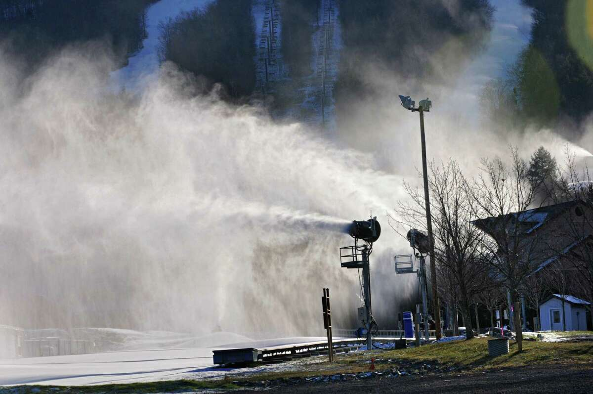 Snow making machines were on full force to get ready for the ski season at Windham Mountain on Wednesday, Nov. 19, 2014 in Windham, N.Y. The resort opens Friday. (Lori Van Buren / Times Union archive)