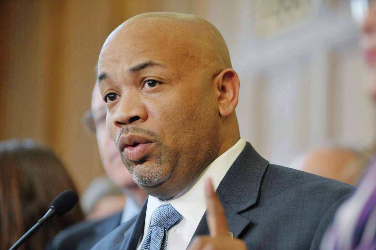 Assembly Speaker Carl Heastie, takes part in a press conference to discuss human trafficking legislation on Monday, March 16, 2015, at the Capitol in Albany, N.Y. (Paul Buckowski / Times Union)