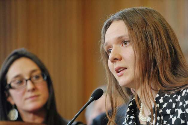 Iryna, a New York resident who was forced into prostitution by her boyfriend, talks about her ordeal during a press conference to discuss human trafficking legislation that the Assembly will take up on Monday, March 16, 2015, at the Capitol in Albany, N.Y.  (Paul Buckowski / Times Union) Photo: PAUL BUCKOWSKI / 00031049A