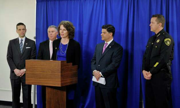 Assembly members, Angelo Santabarbara, left, John McDonald III, second from left, Patricia Fahy, third from left, Senator George Amedore, fourth from left, and Albany County Sheriff Craig Apple all take part in a press conference on Monday, March 16, 2015, in Albany, N.Y. to discuss new legislation that would expedite access to CPS records when law enforcement is investigating a missing child. When the legislators held the press conference the bill had not yet passed but the Senate and Assembly were both taking up the bill later on Monday.  (Paul Buckowski / Times Union) Photo: PAUL BUCKOWSKI / 00031047A