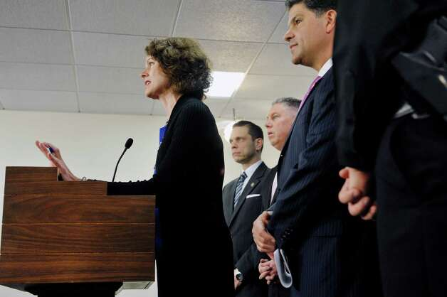 Assembly members, Patricia Fahy, left, Angelo Santabarbara, second from left, John McDonald III, third from left, and Senator George Amedore, all take part in a press conference on Monday, March 16, 2015, in Albany, N.Y. to discuss new legislation that would expedite access to CPS records when law enforcement is investigating a missing child. When the legislators held the press conference the bill had not yet passed but the Senate and Assembly were both taking up the bill later on Monday.  (Paul Buckowski / Times Union) Photo: PAUL BUCKOWSKI / 00031047A