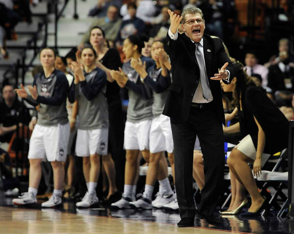 FILE - In this March, 2015, file photo, Connecticut coach Geno Auriemma reacts during the first half of an NCAA college basketball game against East Carolina in the semifinals of the American Athletic Conference tournament in Uncasville, Conn. The NCAA college basketball tournament pairings will be announced Monday. (AP Photo/Jessica Hill, File) ORG XMIT: NY174