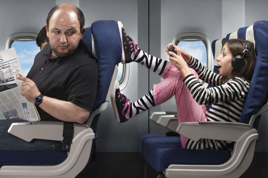 The Seat Kicker: If a child is kicking the back of your seat, simply turn around and glance at the child and the parent. The parent will oftentimes get the hint and ask the child to stop. If this doesn't work, kindly speak up and ask the child to stop kicking your seat. Other annoying passengers on airplanes: Photo: Oktay Ortakcioglu, Getty Images/Vetta