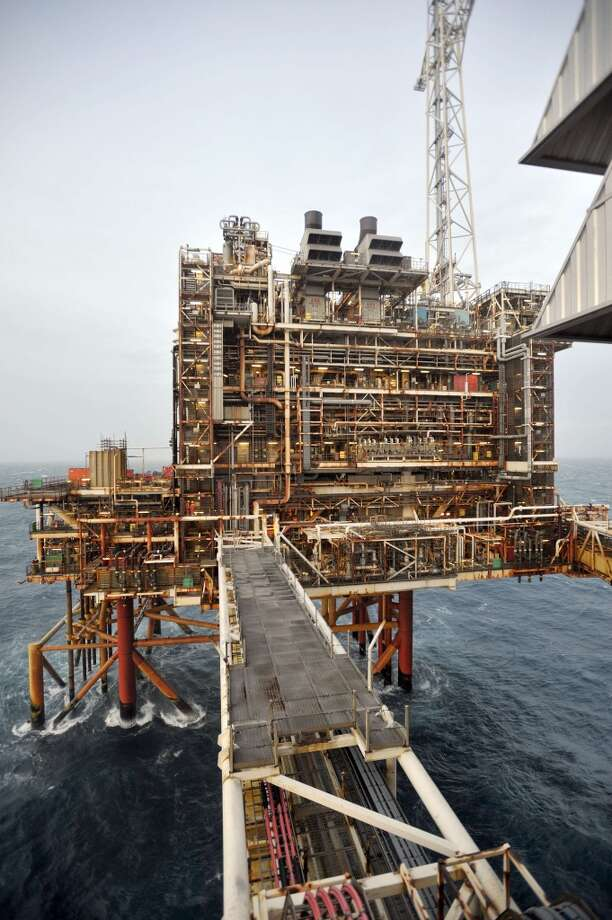 A picture dated February 24, 2014 shows section of the BP ETAP (Eastern Trough Area Project) oil platform in the North Sea, around 100 miles east of Aberdeen, Scotland. Oil is at the heart of the debate over whether Scotland can afford to go it alone or would be better off remaining part of Britain on September 18 -- and booming Aberdeen demonstrates how wealthy it has made some. Photo: ANDY BUCHANAN, AFP/Getty Images