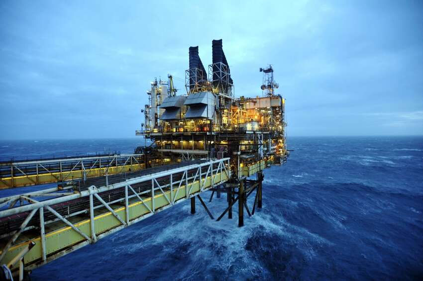A picture dated February 24, 2014 shows section of the BP ETAP (Eastern Trough Area Project) oil platform in the North Sea, around 100 miles east of Aberdeen, Scotland. Oil is at the heart of the debate over whether Scotland can afford to go it alone or would be better off remaining part of Britain on September 18 -- and booming Aberdeen demonstrates how wealthy it has made some.