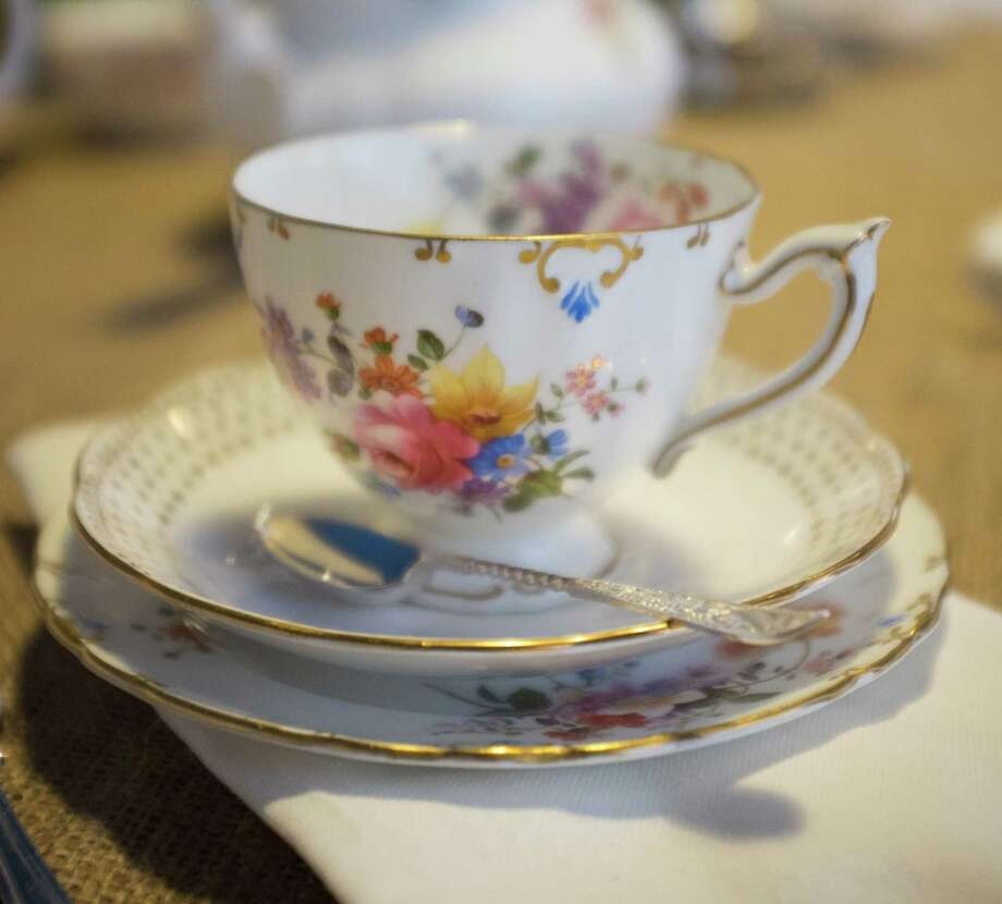 One of the 144 pairs of cups and saucers in Dish & Spoon Vintage's stock of British tea china. The new business in Westport rents tableware for parties ranging from intimate gatherings to groups of 100. Westport CT. March 2015. Photo: Westport News/Contributed Photo / Westport News