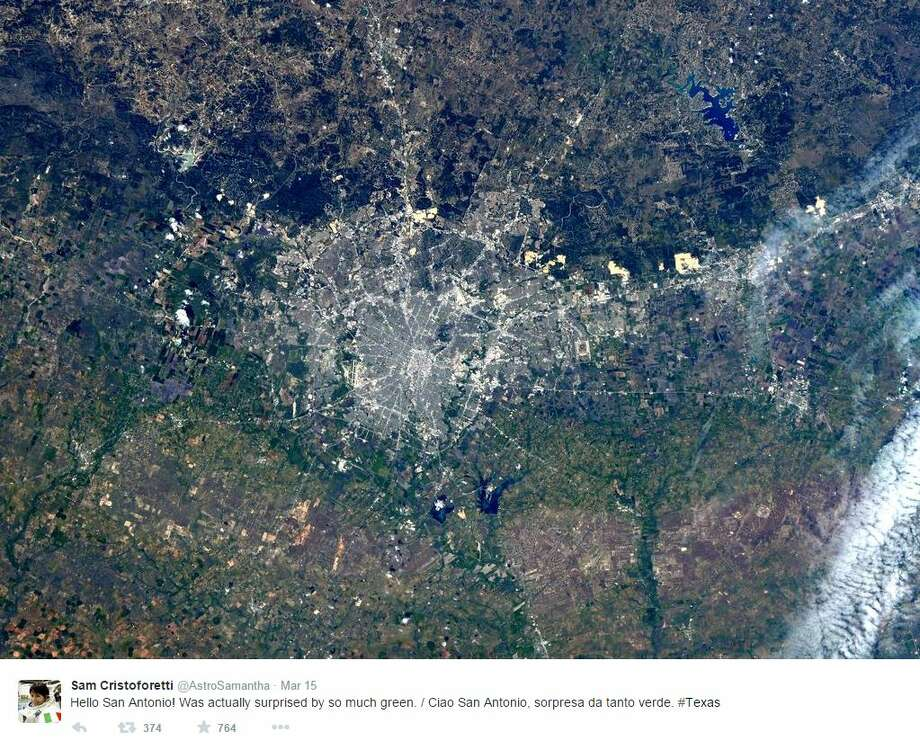 "Italian astronaut Samantha Cristofoertti said ""ciao"" to San Antonio from the International Space Station with an awesome photo of the Alamo City.