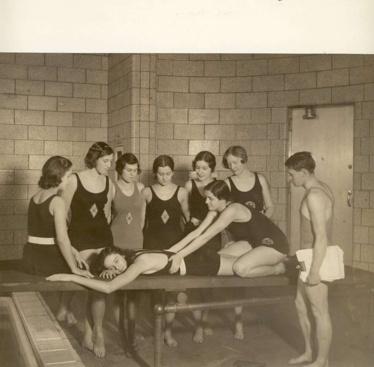 A lifesaving course for women in the early 1930s.