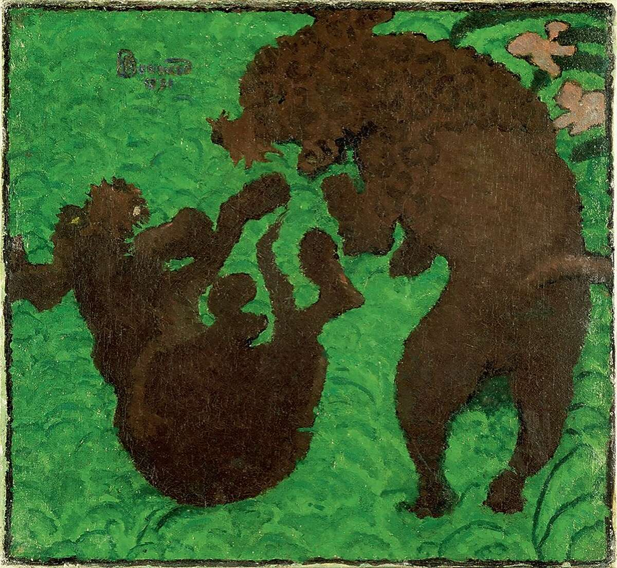 2.Pierre Bonnard, The Two Poodles, 1891. Oil on canvas, 14 5/8 x 15 5/8 in. (37 x 39.7 cm). Southampton City Art Gallery.