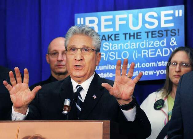 Assemblyman James Tedisco calls for passage of new Common Core Parental Refusal Act legislation during a news conference in the LOB Tuesday March 17, 2015 in Albany, NY.   (John Carl D'Annibale / Times Union) Photo: John Carl D'Annibale, Albany Times Union / 00031060A