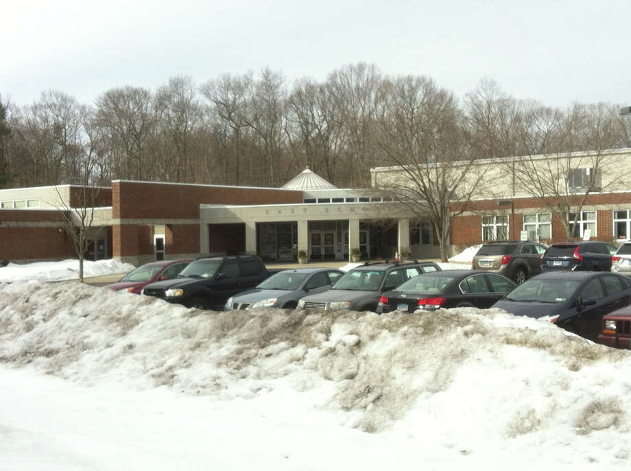A child fell down during school drop at East School on March 16, prompting a significant police and EMS response, however the boy was not injured, according to the schoolís principal. Photo: Martin Cassidy / New Canaan News