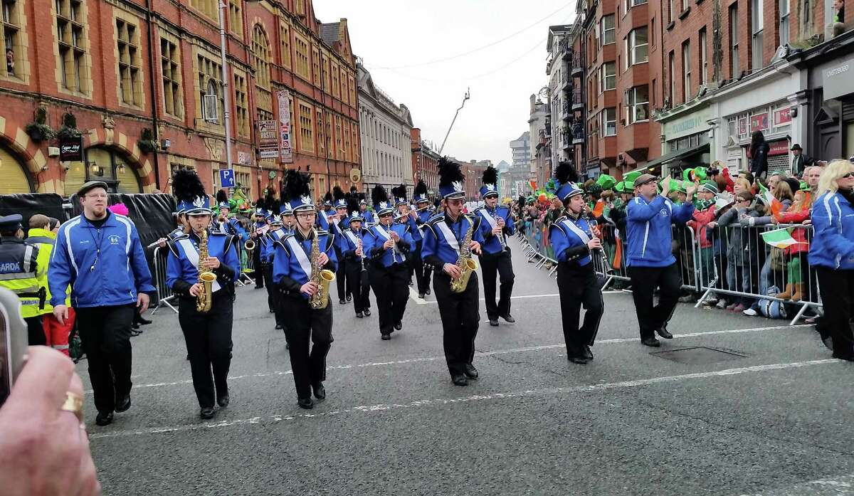 The Marching Falcons of Albany High School take part in the Dublin St. Patrick?'s Day Parade Tuesday, March 17, 2015, in Dublin, Ireland. (Courtesy Donel Mataruga)