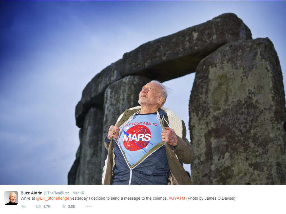 """Former astronaut Buzz Aldrin believes NASA and the people who fund it need to make a priority of getting crews to Mars.See all the weird, unexplained """"sightings"""" NASA might find if it landed on Mars, including cats, coffins, statues and more ... Photo: Buzz Aldrin On Instagram"""