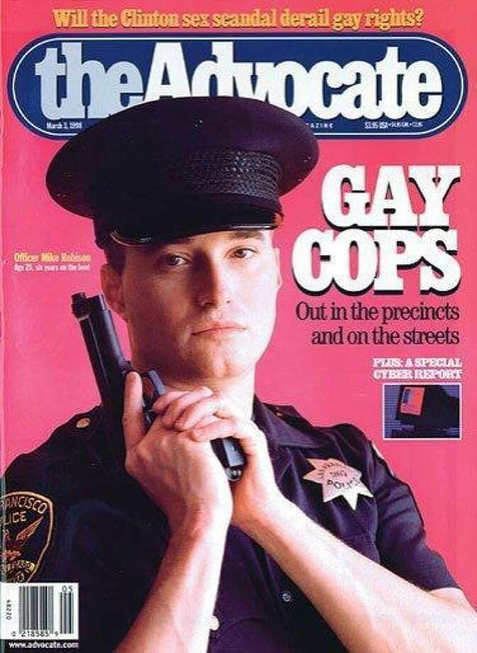 Michael Robison, one of the San Francisco police officers identified in a department probe of racist and homophobic text messages, was featured on the cover of the Advocate, a magazine that caters to gay readers, in March 1998, six years after joining the department as an openly gay man. Photo: Courtesy The Advocate