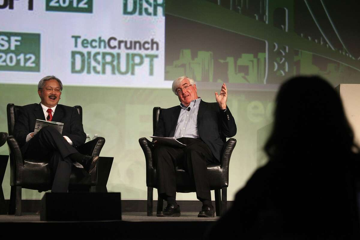 San Francisco Mayor Ed Lee (left) and Ron Conway (right), SV Angel talk with Moderator Michael Arrington (not shown) of TechCrunch during a Fireside Chat at TechCrunch Disrupt SF 2012 at The Concourse at San Francisco Design Center on Tuesday, September 11, 2012 in San Francisco, Calif.
