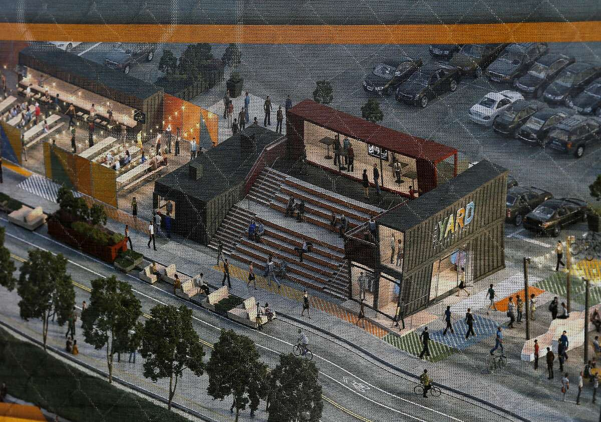 An artist's rendering of the pop-up village adorns the yard Monday March 16, 2015. The Giants' Yard at Mission Rock bills itself as a pop-up shipping container village that has local food and drink, public space and events. It joins other shipping container stores like Proxy at Octavia and Hayes Streets in San Francisco, Calif.