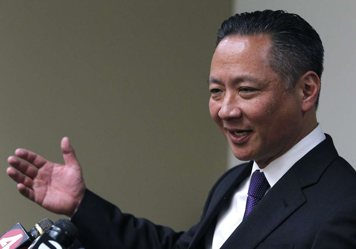 Public Defender Jeff Adachi discusses the texting case involving four police officers in San Francisco, Calif. on Tuesday, March 17, 2015. The Public Defender's office will review hundreds of previous cases involving the four police officers suspected of sending racist and homophobic texts.