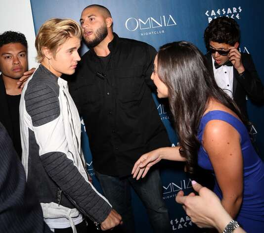 Singer Justin Bieber (2nd L) is greeted as he arrives at Omnia Nightclub at Caesars Palace to celebrate his birthday on the nightclub's opening weekend on March 15, 2015 in Las Vegas, Nevada. Photo: Gabe Ginsberg, Getty Images