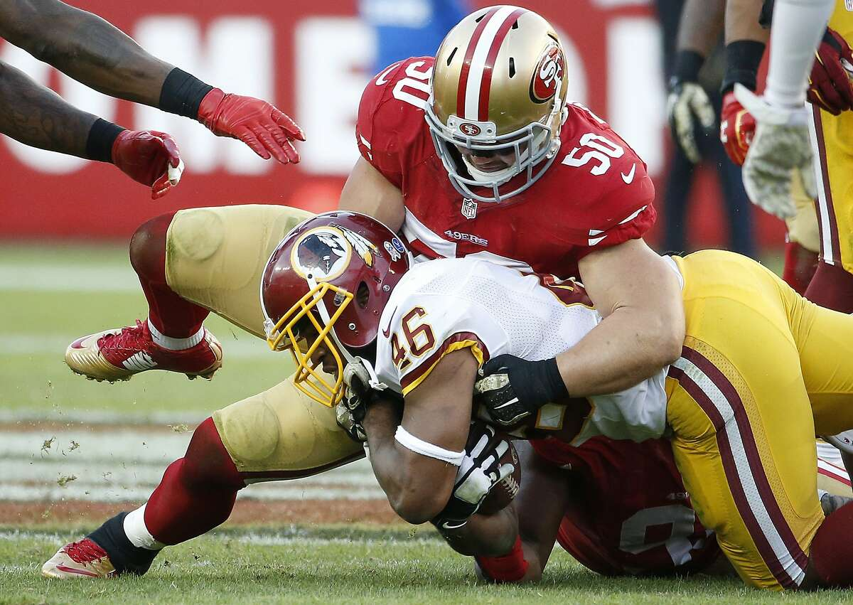 FILE - In this Sunday, Nov. 23, 2014, file photo, San Francisco 49ers inside linebacker Chris Borland (50) tackles Washington Redskins running back Alfred Morris (46) during the second half of an NFL football game in Santa Clara, Calif. The 49ers announced late Monday, March 16, 2015, that Borland is retiring after one season, without offering specifics. (AP Photo/Tony Avelar, File)