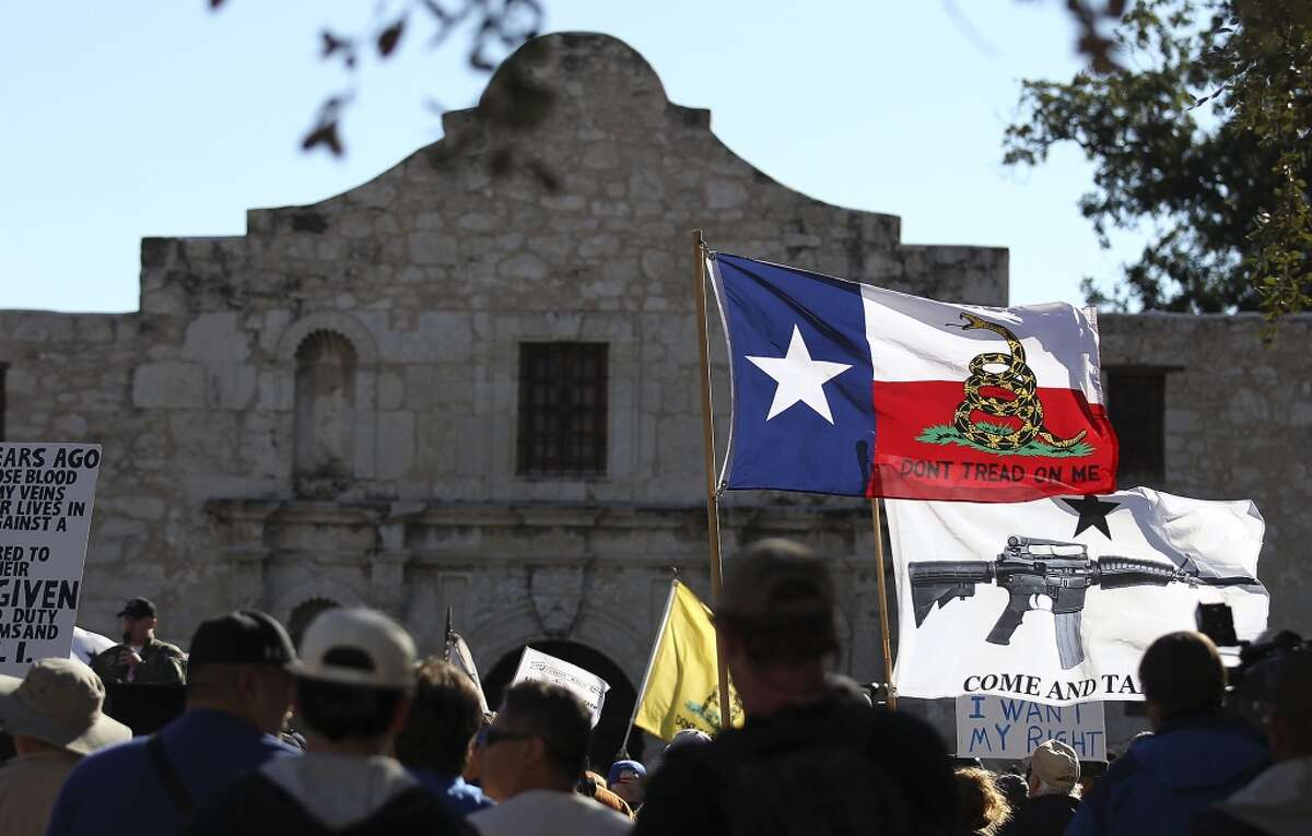 Take a closer view of how Texas would look if the state actually did split up. In this Oct. 19, 2013 file photo, flags fly at the
