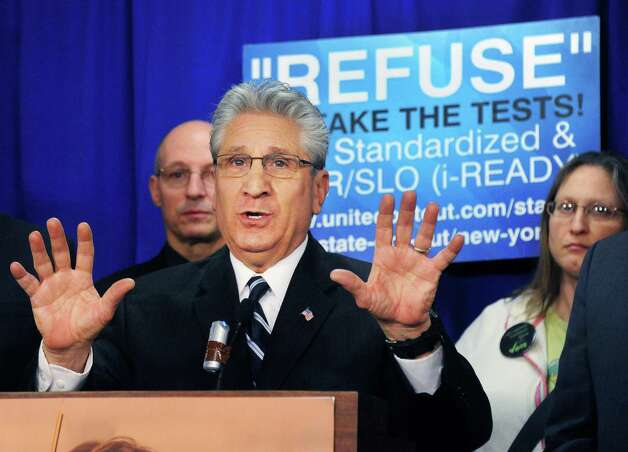 Assemblyman James Tedisco calls for passage of new Common Core Parental Refusal Act legislation during a news conference in the LOB Tuesday March 17, 2015 in Albany, NY.   (John Carl D'Annibale / Times Union) Photo: John Carl D'Annibale / 00031060A