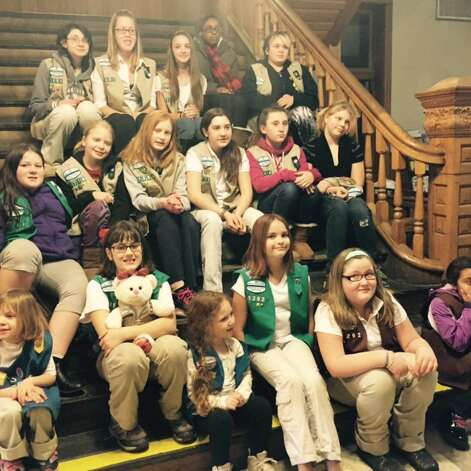 The Girl Scouts of Service Unit 161 gathered at Cohoes City Hall tonight to celebrate the 103rd birthday of the organization. Daisies as young as five and ambassadors preparing for high school graduation were joined by Mayor George Primeau, who read a city proclamation announcing Girl Scout week in Cohoes. Service Unit 161 serves girls and adults from Cohoes, Watervliet and Green Island. Details: www.gsneny.org. (Submitted photo)