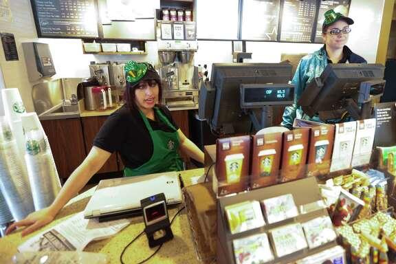 Starbucks baristas Sarah Holland, left, and Jennifer Asumendi waited on regular customer Robert Durst. Around noon every day he ordered a tall Americano.