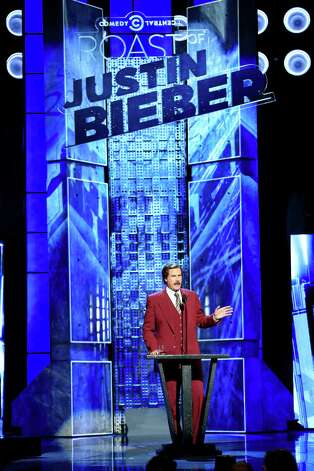 "LOS ANGELES, CA - MARCH 14:  Actor Will Ferrell (in character as ""Ron Burgundy"") speaks onstage at The Comedy Central Roast of Justin Bieber at Sony Pictures Studios on March 14, 2015 in Los Angeles, California. The Comedy Central Roast of Justin Bieber will air on March 30, 2015 at 10:00 p.m. ET/PT. Photo: Christopher Polk, Getty Images / 2015 Getty Images"