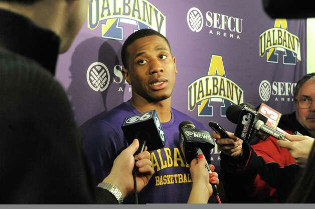 UAlbany's Evan Singletary talks with the media prior to basketball practice at the SEFCU Arena on Tuesday March 17, 2015 in Albany, N.Y.  (Michael P. Farrell/Times Union) Photo: Michael P. Farrell / 00031069A