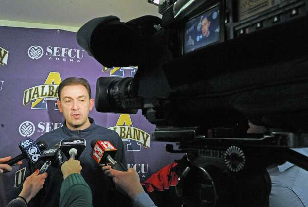 UAlbany head coach Will Brown talks with the media prior to basketball practice at the SEFCU Arena on Tuesday March 17, 2015 in Albany, N.Y.  (Michael P. Farrell/Times Union archive) Photo: Michael P. Farrell / 00031069A