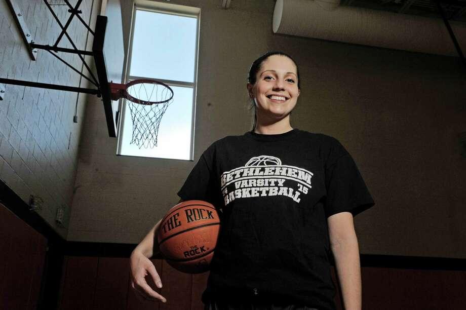 Bethlehem senior basketball Olivia Hughes poses for a photograph before practice on Tuesday, March 17, 2015, in Delmar, N.Y.  (Paul Buckowski / Times Union) Photo: PAUL BUCKOWSKI / 00031059A