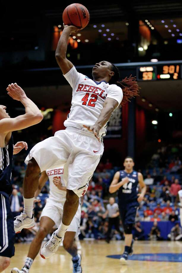 DAYTON, OH - MARCH 17: Stefan Moody #42 of the Mississippi Rebels goes to the basket against the Brigham Young Cougars during the first round of the 2015 NCAA Men's Basketball Tournament at UD Arena on March 17, 2015 in Dayton, Ohio.  (Photo by Gregory Shamus/Getty Images) ORG XMIT: 527065245 Photo: Gregory Shamus / 2015 Getty Images