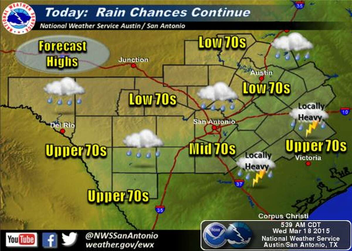 Rain chances will increase to about 80 percent by Friday night, according to the National Weather Service.