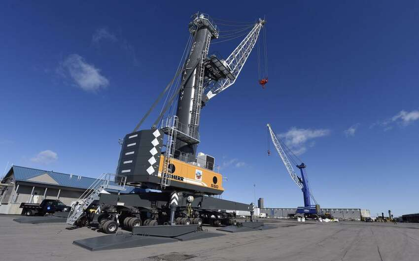 The new $4.5 million Liebherr Mobile Harbour Crane is ready to work at the Port of Albany on Wednesday, March 18, 2015. (Skip Dickstein/Times Union)
