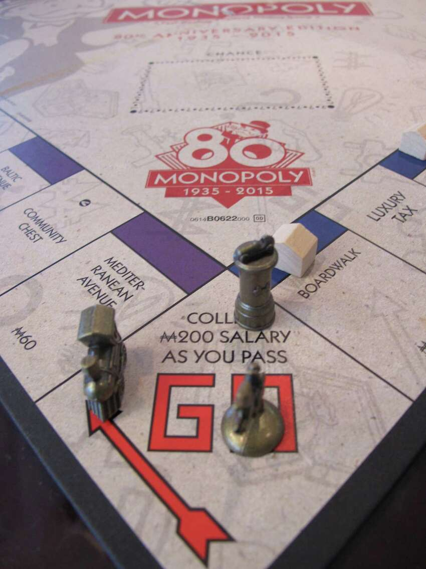 This March 11, 2015 photo shows a Monopoly board in Atlantic City, N.J. - the city on whose real-life streets the Monopoly board game is based.