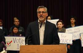 Supervisor John Avalos speaks during a rally held by the San Francisco Youth Commission at City Hall in San Francisco, Calif. Monday, March 16, 2015  to shine light on new legislation to allow 16 and 17-year-olds to vote in San Francisco.