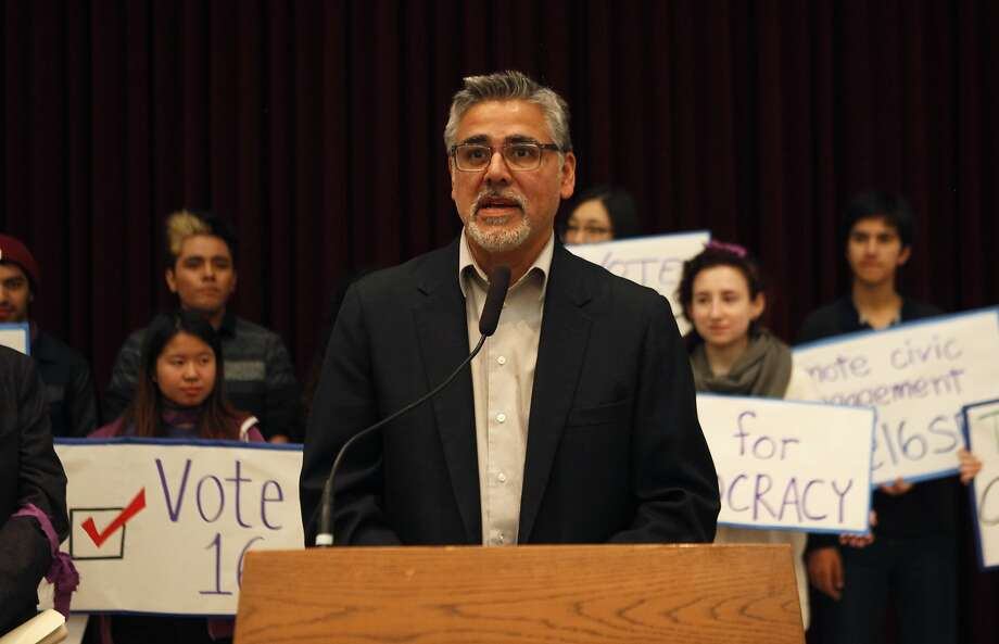 Supervisor John Avalos speaks during a rally held by the San Francisco Youth Commission at City Hall in San Francisco, Calif. Monday, March 16, 2015  to shine light on new legislation to allow 16 and 17-year-olds to vote in San Francisco. Photo: Jessica Christian, The Chronicle