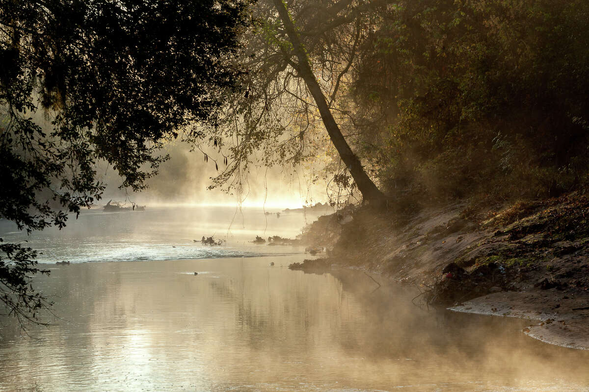 Mist over the stretch of Buffalo Bayou that would be razed for the Memorial Park Demonstration Project.