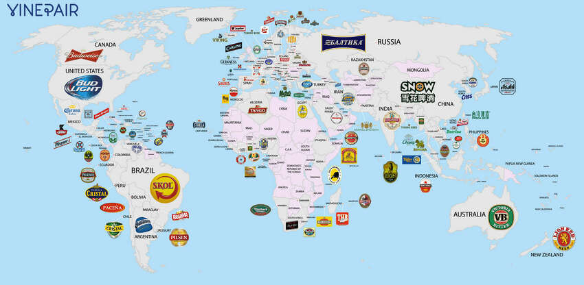 The most popular beers in each country Wine and spirits blog VinePair recently set out to document the most popular beers across the globe, covering some 100 countries. Using research reports and corporate filings, they discovered what beer drinkers from Denmark to New Zealand love the best. It should come as no surprise that in Ireland the thick and dark Guinness is the preferred beer of the masses.
