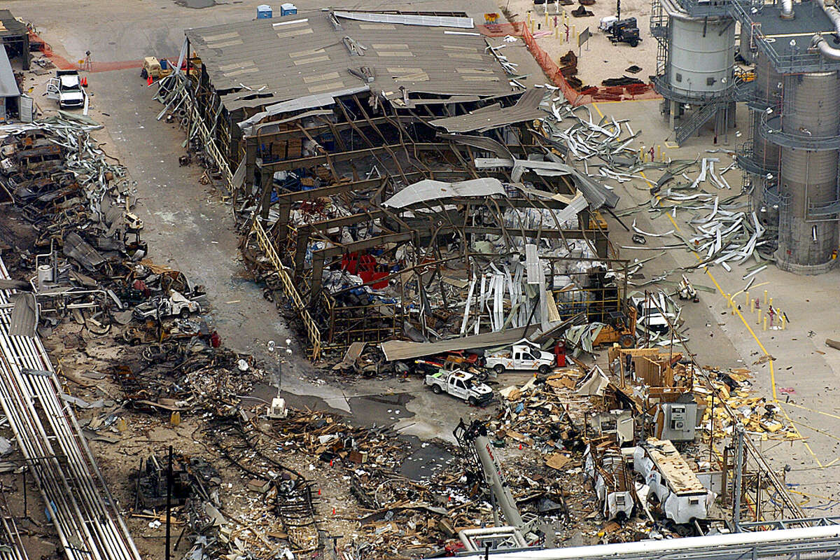 Aerial views of the isom unit of the BP plant in Texas City a week after the explosion.