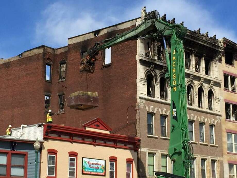 Preparation for demolition at the Jay Street apartment buildings in Schenectady on Wednesday, March 18, 2015. (Cindy Schultz/Times Union)