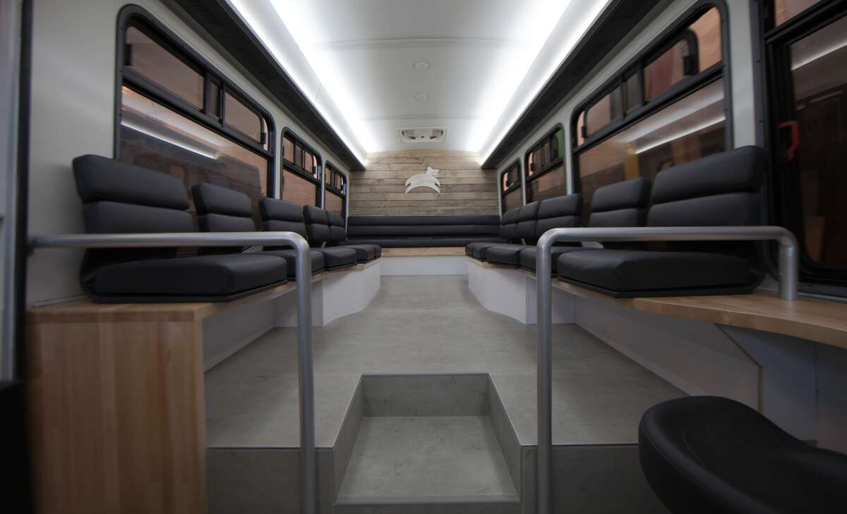 The new Leap commuter bus debuted in San Francisco on March 18, 2015.