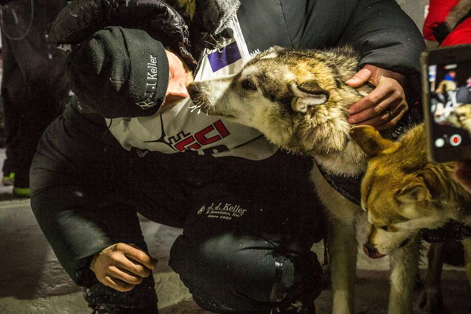 Dallas Seavey, the 2015 Iditarod Trail Sled Dog Race champion poses with his lead dogs Hero, left, and Reef in Nome, Alaska on Wednesday, March 18, 2015.   Seavey won his third Iditarod in the last four years, beating his father, Mitch, to the finish line after racing 1,000 miles across Alaska. (AP Photo/Alaska Dispatch News, Loren Holmes) Photo: Loren Holmes, Associated Press