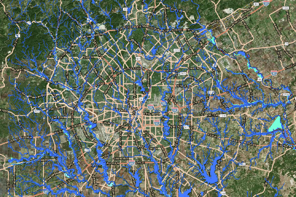 San Antonio floodplains With continued rainfall over the Bexar County area, water levels can swell to fill floodplains in every section of the city. Some parts of the city are deceiving because there appears to be so few waterways. Interactive SARA floodplain map.