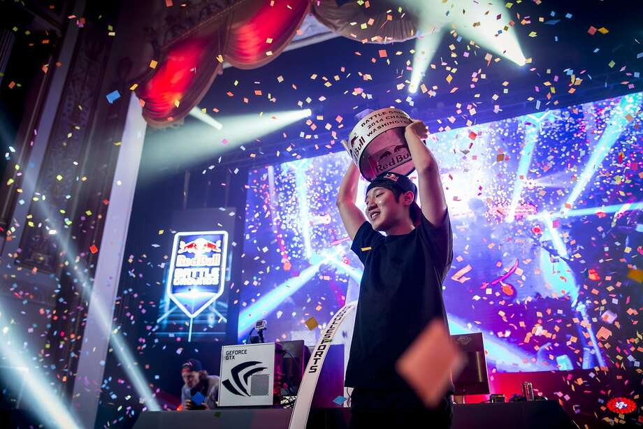 "Choi ""Bomber"" Ji Sung celebrates after winning the 2014 ""StarCraft II"" contest in Washington, D.C. The ""Dota 2"" finals will be held May 10 in San Francisco. Photo: Red Bull"