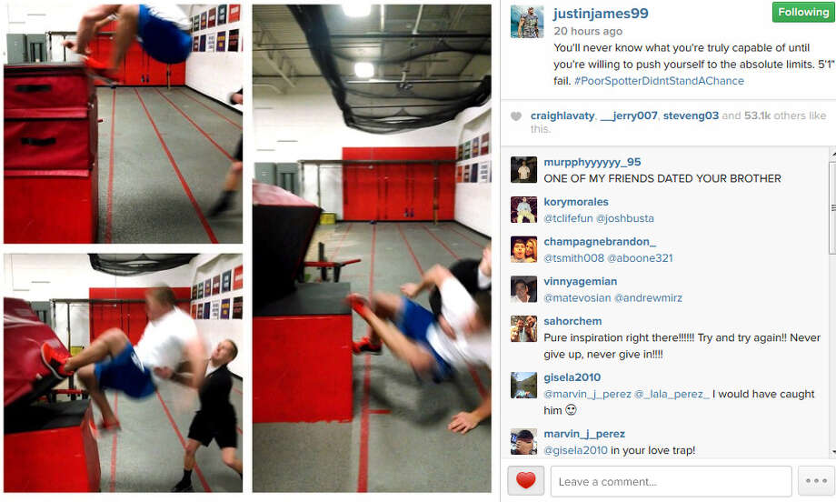 J.J. Watt can do a lot of things on this planet but on Tuesday he couldn't make a 5-foot-1-inch jump at his training facility. The Texans defensive end nearly made it up top of a stack of workout mats before falling back onto his spotter. (Source: Instagram)PHOTOS: Take a look inside J.J. Watt's cabin in Wisconsin ...