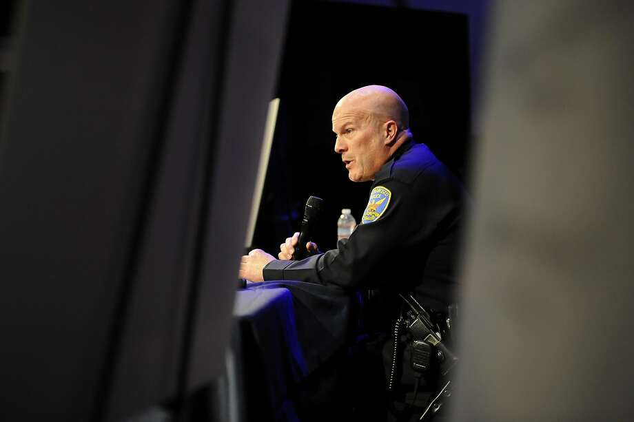 Police Chief Greg Suhr answers questions from the public during a town hall meeting at Cornerstone Church in San Francisco on Jan. 6. Photo: Michael Short, Special To The Chronicle