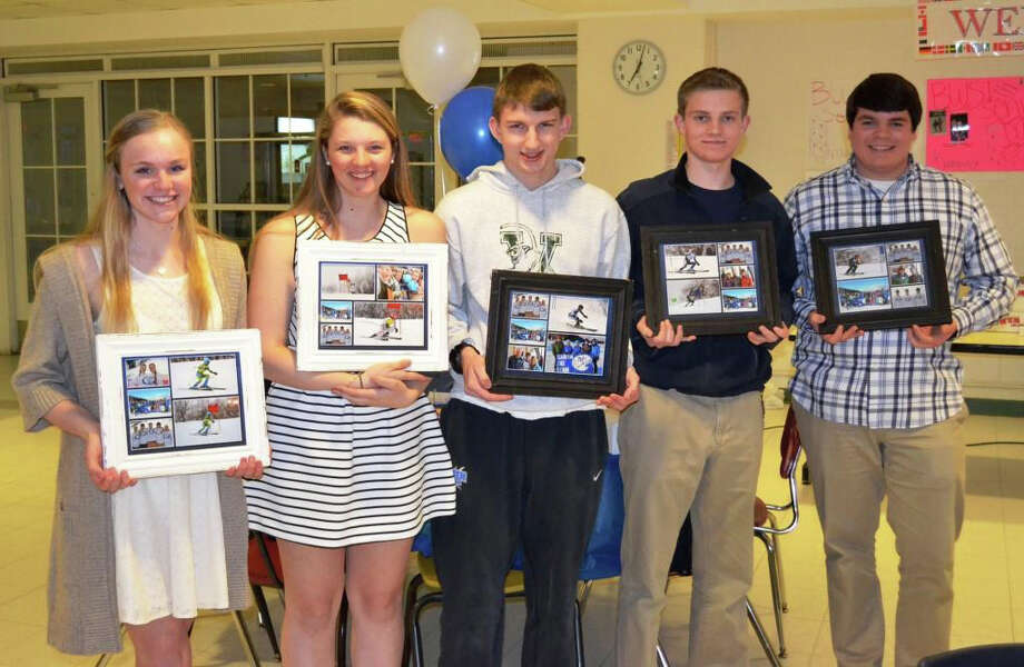 Darien senior skiiers pose with photos of themselves from this past season. L to R: Taylor Hart, Katharine Graham, Chris von Stuelpnagel, Graham Skeats, Gray Kline. Photo: Contirbuted, Contributed / Darien News